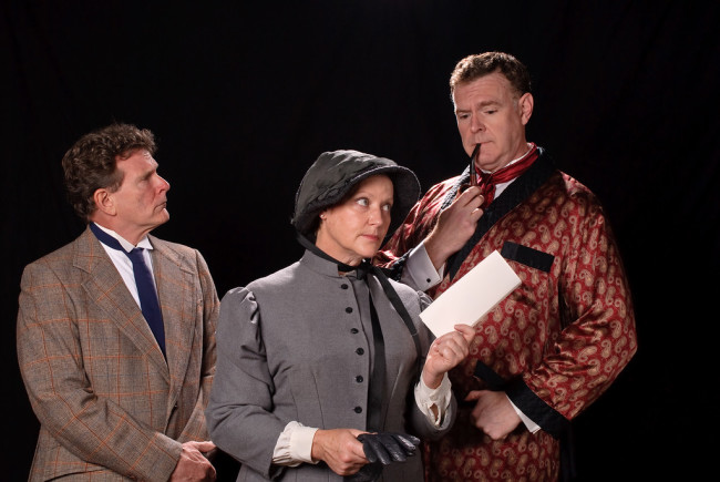 Nick Beschen (left) as Dr. Watson, Lisa KB Rath (center) as Mrs. Hudson, and Jim Gallagher (right) as Sherlock Holmes in Sherlock's Last Case