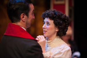 Jim Knost (left) as The Wicked Baronet and Autumn Boyle (right) as Alice Grey a virtuous governess in A Sensation Novel at Spotlighters Theatre