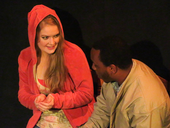 Ali Evarts (left) as CC and Clayton Pelham (right) as Russell in If I Hold My Tongue