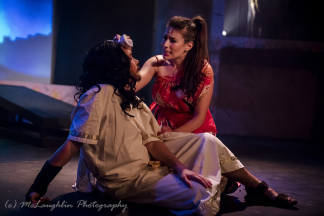 Jesse D. Saywell (left) as Jesus and Kim Murphy (right) as Mary Magdalene in Jesus Christ Superstar at Kensington Arts Theatre