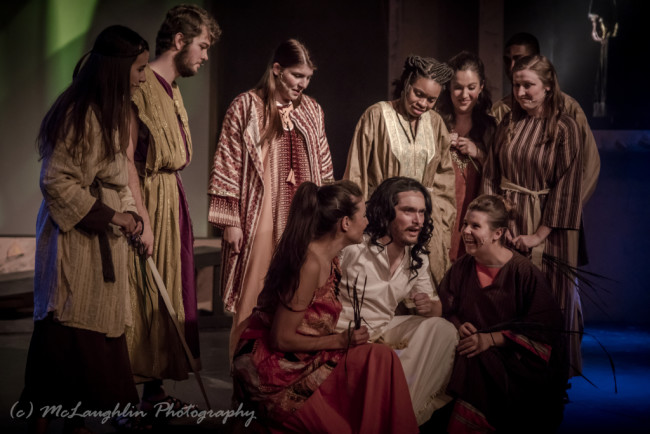 Jesse D. Saywell (center) as Jesus and the apostles in Jesus Christ Superstar at Kensington Arts Theatre