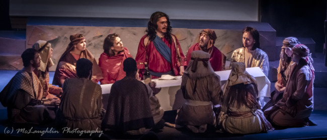 Jesus (center- Jesse D. Saywell) at the last supper in Jesus Christ Superstar at Kensington Arts Theatre