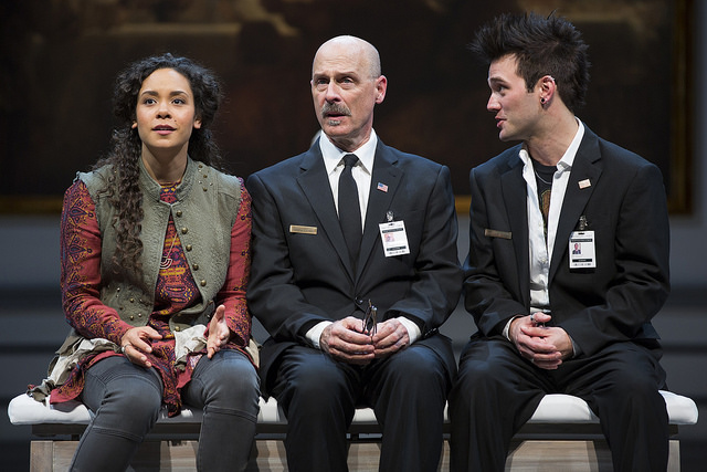 Kathryn Tkel (left) as Madeline, Mitchell Hebert (center) as Henry, and Josh Sticklin (right) as Dodger in The Guard at Ford's Theatre