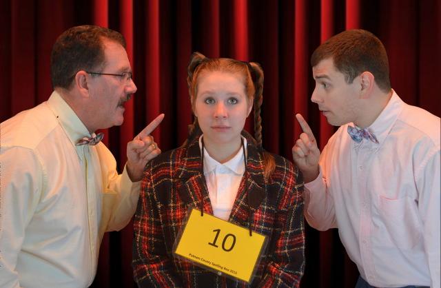 Jim Morgan (left) as Carl Dad, Emily Wesselhoff (center) as Logainne Schwarzandgrubenier, and John Mochovec (right) as Dad Dad