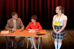 Greg Dohmeier (left) as Douglass Panch, Kristin Kraus (center) as Rona Lisa Peretti, and EMily Morgan (right) as Marcy Park