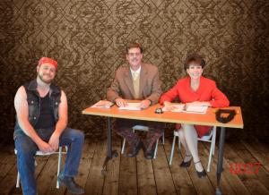 Patrick Jay Golden (left) as Mitch Mahoney, Greg Dohmeier (center) as Douglass Panch, and Kristen Kraus (right) as Rona Lisa Peretti