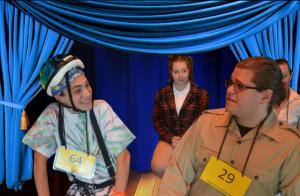 Kevin Franiak (left) as Leaf Coneybear, Emily Wesselhoff (center) as Logainne Schwarzandgrubenier, and Seth David (right) as Chip Tolentino