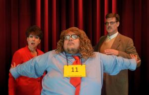 Kristin Kraus (left) as Rona Lisa Peretti, Jason Crawford Samios-Uy (center) as William Barfee, and Greg Dohmeier (right) as Douglass Panch