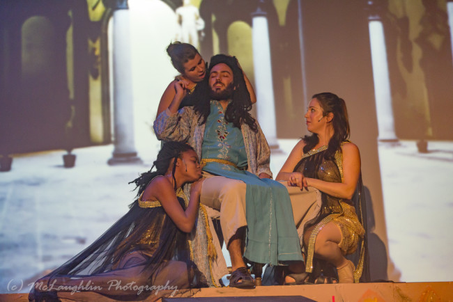 Gabriel Macedo (center) as King Herod with his Harem (Clancey Yovanovich, Ashley K. Nicholas, Allie Dreskin) in Jesus Christ Superstar