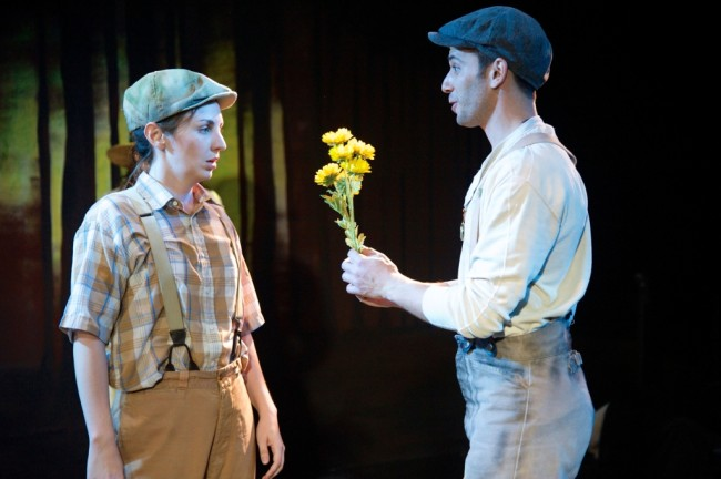 Teresa Spencer and Jonathan Feuer in Annapolis Shakespeare Company's AS YOU LIKE IT.