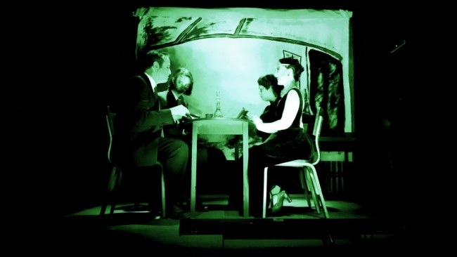 (L to R) Michael Stevenson, Jeffrey L. Gangwisch, Jess Rivera, and Kathryn Eidhnean Bateman in From a Black Egg