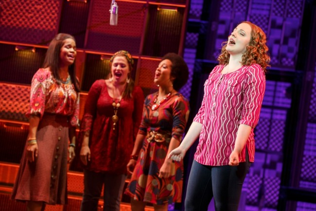 "Natural Woman. Foreground: Abby Mueller (""Carole King""). Background: (l to r) Britney Coleman, Sarah Bockel and Ashley Blanchet."