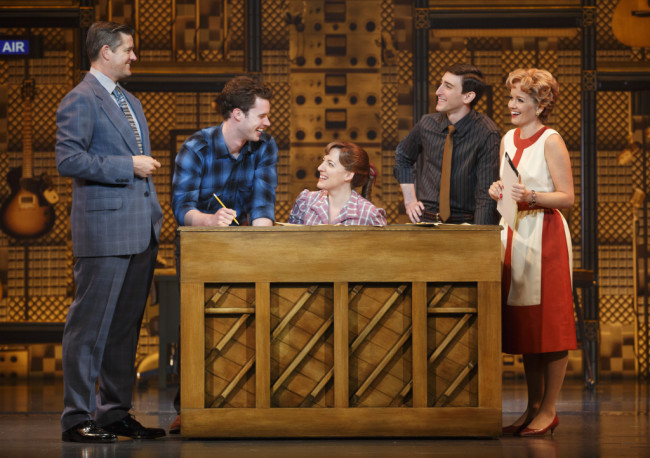 "(l to r) Curt Bouril (""Don Kirshner""), Liam Tobin (""Gerry Goffin""), Abby Mueller (""Carole King""), Ben Fankhauser (""Barry Mann"") and Becky Gulsvig (""Cynthia Weil"")."