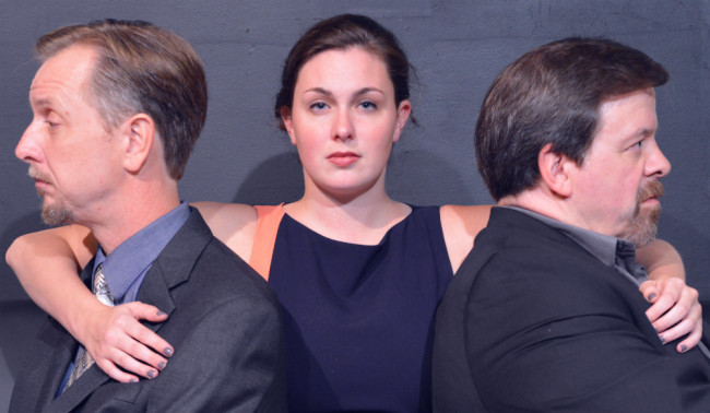 Gareth Kelly (left) as Robert, Ryan Gunning (center) as Emma, and Thom Eric Sinn (right) as Jerry in Betrayal at Fells Point Corner Theatre