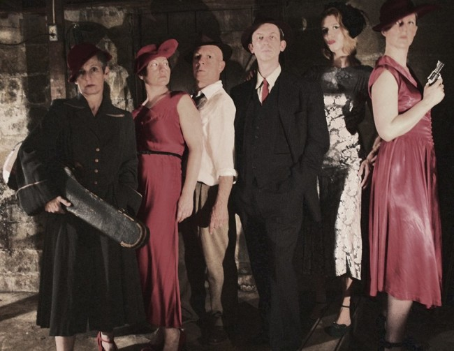 (L to R) Happenstance Theater Company's Cabaret Noir featuring Karen Hansen, Sabrina Mandell, Mark Jaster, Alex Vernon, Sarah Olmsted Thomas, and Gwen Grastorf