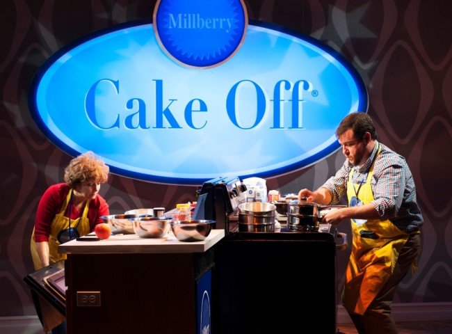 Sherri L. Edelen (left) as Rita Gaw and Todd Buonopane (right) as Paul Hubbard in Cake Off