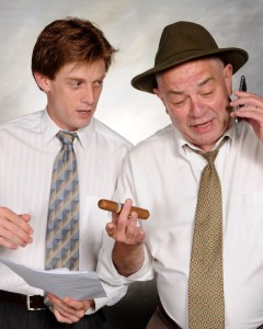David Shoemaker (left) as Zack and Jeff Murray (right) as campaign manager Frank DeSantis in Commander at Vagabond Players