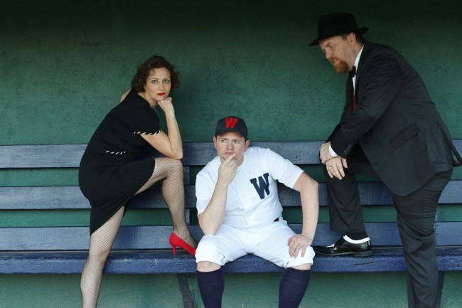 Katie Sheldon (left) as Lola, Jim Gerhardt (center) as Joe Hardy, and Ryan Geiger (right) as Mr. Applegate in Damn Yankees at Heritage Players