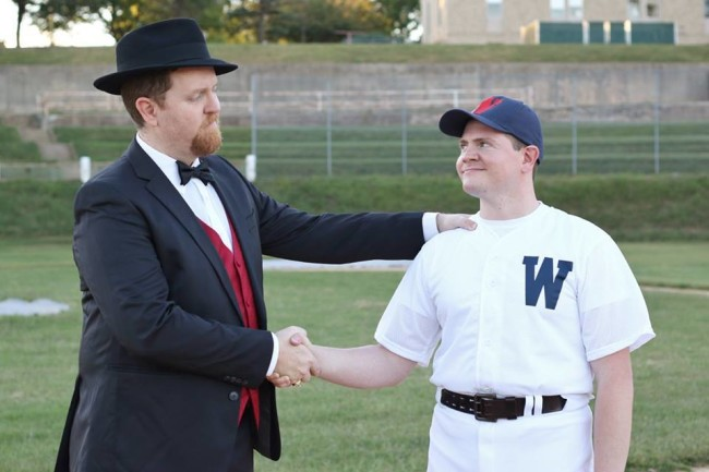 Ryan Geiger (left) as Mr. Applegate shaking hands on a sinful deal with Jim Gerhardt (left) as Joe Hardy