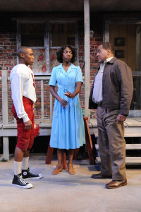 Brayden Simpson (left) as Cory, Joy Jones (center) as Rose, and Alan Bomar Jones (right) as Troy in Fences
