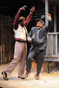 Gary-Kayi Fletcher (left) as Lyons and Bryant Bentley (right) as Gabriel in Fences