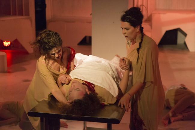The ensemble of Frankenstein of Maryland Ensemble Theatre