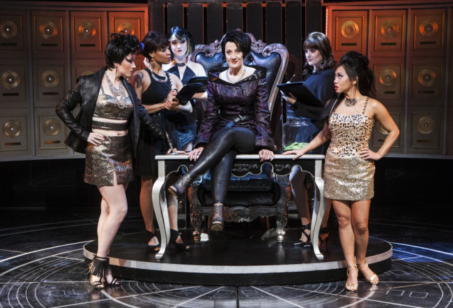 Donna Migliaccio (Daniella Espere) with Jamie Eacker (Neela), Kellee Knighten Hough (Ensemble), Nora Palka (Ensemble), Bayla Whitten (Ensemble) and Diana Huey (Piper) in Girlstar at Signature Theatre
