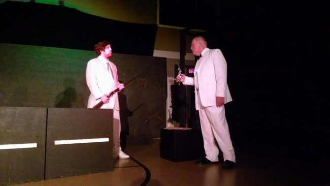 Ethan Croll (left) as Edward Prendick and Rick Thompson (right) as Doctor Moreau in The Island of Doctor Moreau at Twin Beach Players