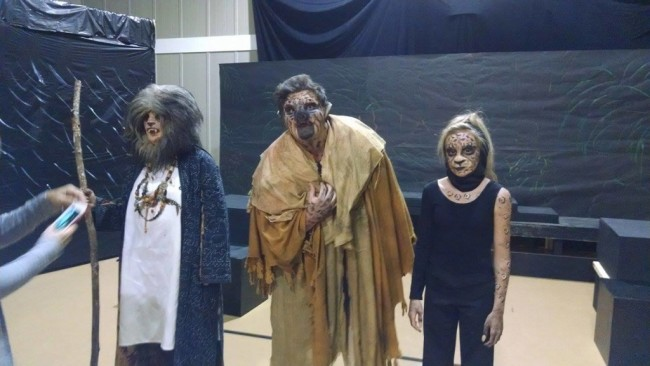Angela Knepps (left) as The Sayer of the Law, Mickey Cashman (Center) as Hyena-Swine Creature, and Alayna Stewart (right) as Leopard Creature in rehearsal for The Island of Doctor Moreau at Twin Beach Players