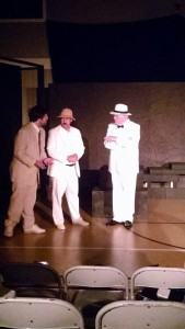 Ethan Croll (left) as Edward Prendick, James Lansan Weeks (center) as Montgomery and Rick Thompson (right) as Doctor Moreau