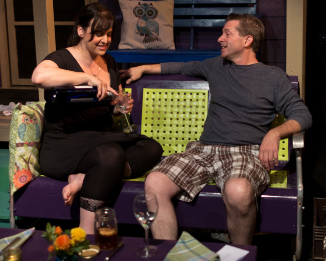 Gillian Shelly (left) as Lizzie and Will Hardy (right) as Mr. Keys in Maytag Virgin