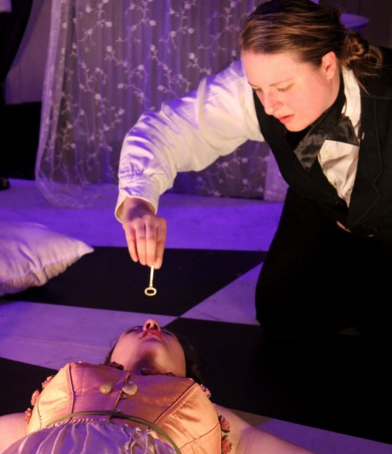 Sarah Gretchen Heiderman (below) as Eliza and Caitlin Bouxsein (above) as The Barkeep in The Mesmeric Revelations! of Edgar Allan Poe