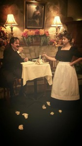 Jose de la Mar (left) as Edgar Allan Poe and Lauren Engler (right) as the Barmaid in Poe's Last Stanza