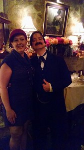 TheatreBloom Editor Amanda N. Gunther (left) stands with actor Jose de la Mar (right) playing Edgar Allan Poe in Poe's Last Stanza
