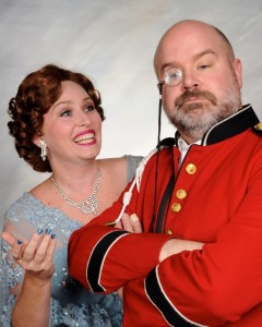 Elizabeth Elton Knupp (left) as Lady Grace Manley-Prowe and Steve Antonsen (right) as Col. Gillweather in Something's Afoot at Vagabond Players