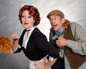 Tammy Oppel (left) as Lettie and Gary Dieter (right) as Flint in Something's Afoot at The Vagabond Players
