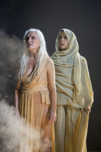 Olwen Fouéré, left, as Nameless Woman, and Nadine Malouf as Salomé in Yaël Farber's Salomé at the Shakespeare Theatre Company.