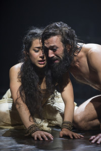 Nadine Malouf as Salomé and Ramzi Choukair as Iokanaan in Yaël Farber's Salomé at the Shakespeare Theatre Company