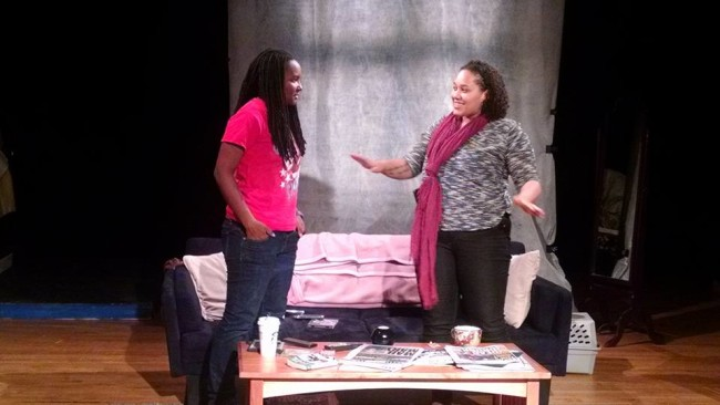 Kandice Wilson (left) as Callie and Asia Kenney (right) as Sarah in Stop Kiss