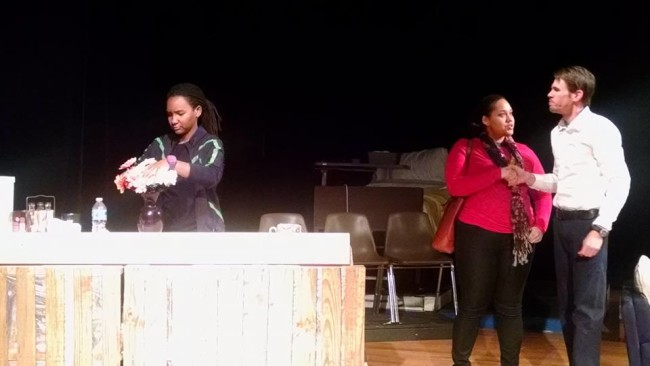 Kandice Wilson (left) as Callie, Asia Kenney (center) as Sarah, and John Gurtshaw (right) as George in Stop Kiss