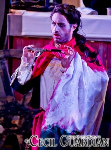 Rob Tucker as Adolpho Pirelli in Sweeney Todd at Milburn Stone Theatre