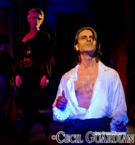 Kelly Buterbaugh (left) as Beatle Bamford and Steve Quintilain (right) as Judge Turpin in Sweeney Todd