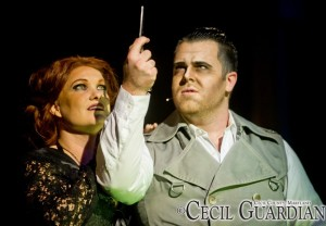 Lauren Spencer-Harris (left) as Mrs. Lovett and Ryan DeVoe (right) as Sweeney Todd