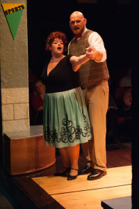 Kristen Zwobot (left) as Principal Delilah Strict and Mark Lloyd (right) as Eddie Flagrante in Zombie Prom