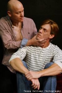Donald Charles (left) as M and David Shoemaker (right) as John in Cock at Fells Point Corner Theatre