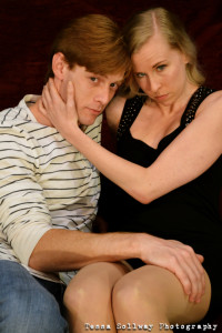 David Shoemaker (left) as John and Barbara Madison Hauck (right) as F in Cock at Fells Point Corner Theatre