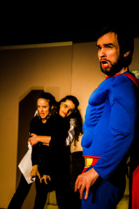 Martha Robichaud (left) as Shadow, Erica Burns (center) as Devon and Fred Fletcher-Jackson (right) as Supraman in A Little Bit Not Normal