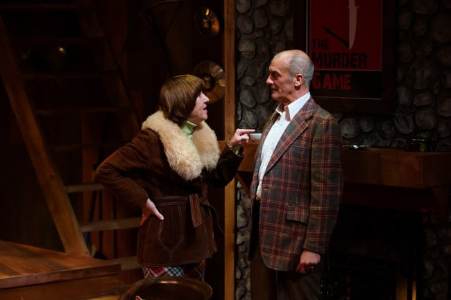 Lorraine Magee (left) as psychic Helga ten Dorp and Peter Holdway (right) as Sidney Bruhl in Deathtrap