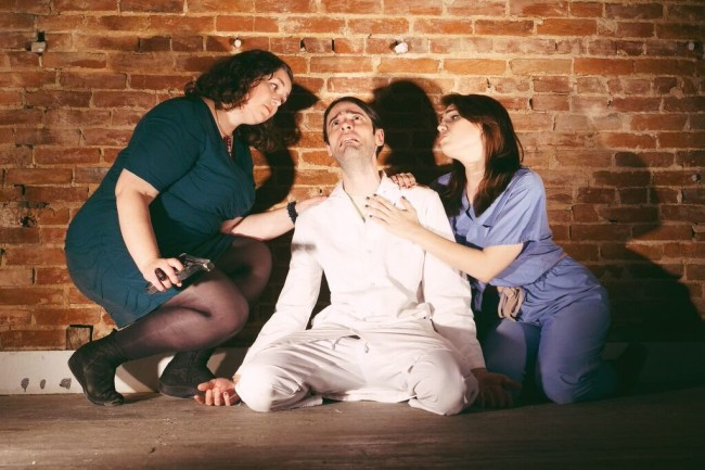 V Lee (left) Martin Kasey (center) and Emily Classen (right) in Impassioned Embraces at Annex Theatre