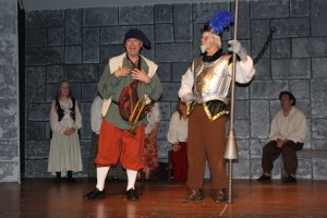Paul Ballard (left) as Sancho Panza and Michael Hullet (right) as Don Quixote in Man of La Mancha